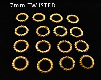 CLEARANCE Gold Vermeil Jump Rings 7mm Elegant Twisted 10 pcs  R4T7