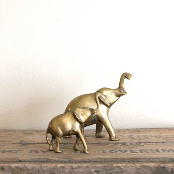 Vintage Brass Elephants - Mama and Baby
