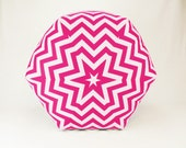 24 Inch Contemporary Modern Floor Ottoman Pouf Pillow Candy Pink/ White Chevron Zig Zag - Zeldabelle