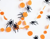 Orange and black Halloween garland, Creepy, Spider garland, Halloween party decorations