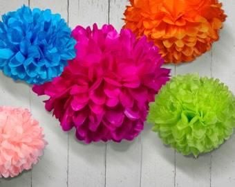 Tissue Paper Pom Poms Set of 5