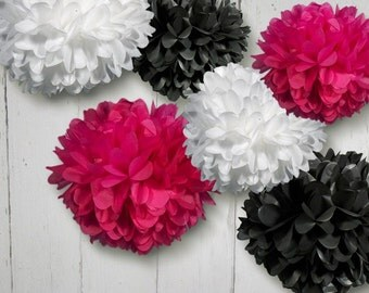 Tissue Paper Pom Poms Set of 6 Poms in Hot Pink, Black and White//Baby Shower//Nursery//Birthday's Decor//Decorations//Weddings
