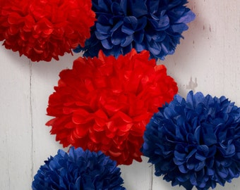 Tissue Paper Pom Poms Set of 5 - Nautical decor