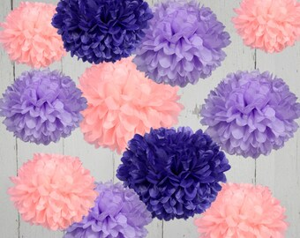 Tissue Paper Pom Poms - Set of 12 - Weddings//Birthday's Decor//Parties Decor//Nursery
