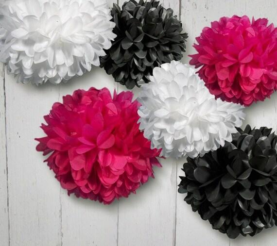 Tissue Paper Pom Poms Set of 6 Poms in Hot Pink, Black and White