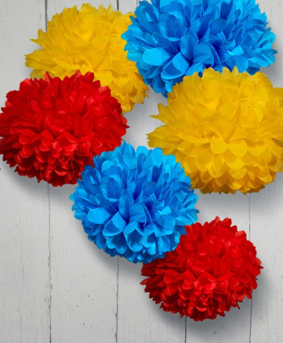Set of 6 Tissue Paper Pom Poms - Choose your Colors