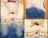 Handmade Dyed Denim Vest Studded Size Small