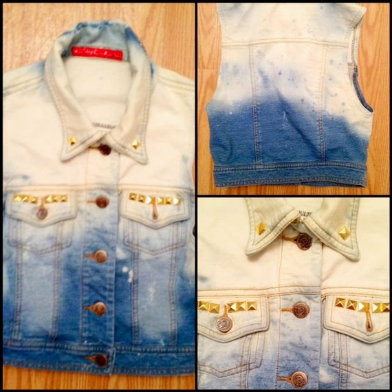 Handmade Dyed Denim Vest Studded Size Small