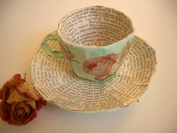 Chintz Papier Mache Cup and Saucer