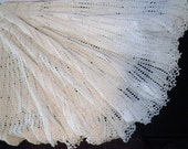 Hand Crocheted Cream Cotton Christening Shawl