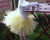Girls Tutu UK, yellow flower and glitter tulle tutu skirt for children, fairy costume, princess, birthday, dress up