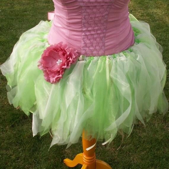 Teen Adult  Green Organza Tutu, woodland faerie costume, tinkerbell, pink flower, fairy, elf, pixie, nymph, fae,