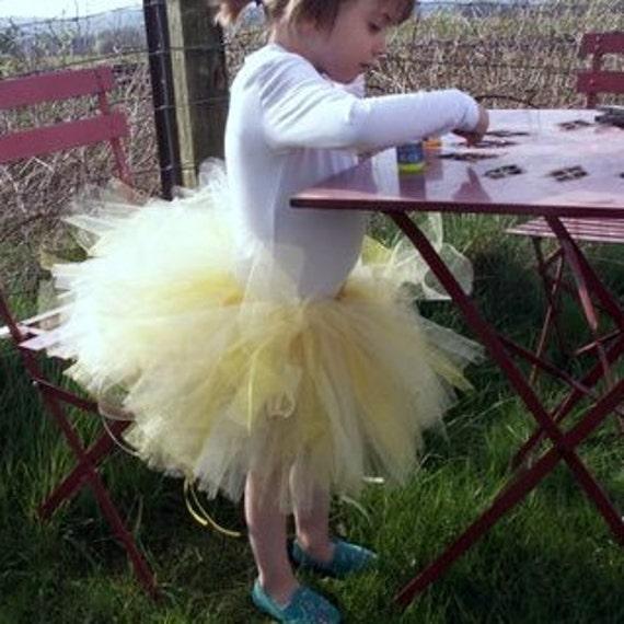 Girls Tutu UK, yellow flower and glitter tulle tutu skirt for children, fairy costume, princess, birthday, dress up