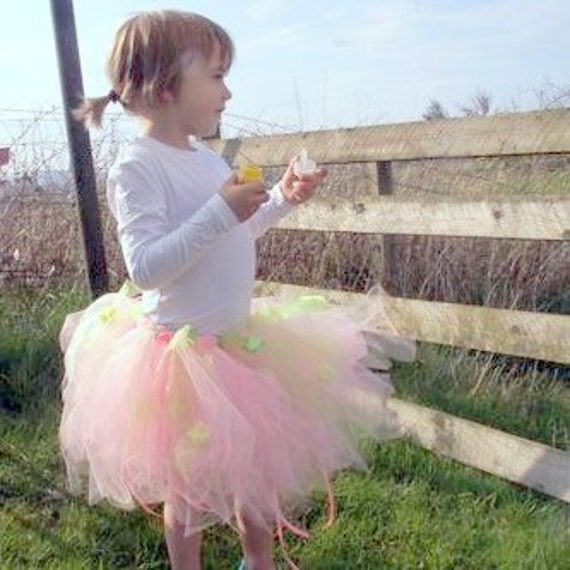 Pink Tutu Skirt with Green Organza, for childs fairy costume, ballet , birthday, princess dress up, flower girl, woodland pixie