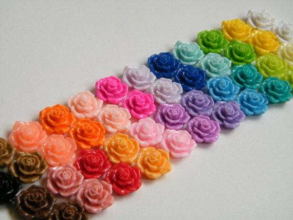 20 - Resin Rose Cabochons Flat Back Resin Flower Cabochon 16mm - Bobby Pins, Flower Rings, Pendants