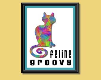 Kitty Cat Rainbow Tie Dye Feline Groovy Giclee Print--perfect for cat lovers