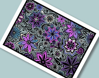 Funky Flowers in Blue 8x10 Giclee Print from Original Drawing