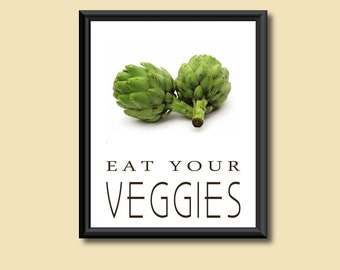 Healthy Diet Eat Your Veggies Kitchen Art Decor DIGITAL PRINT