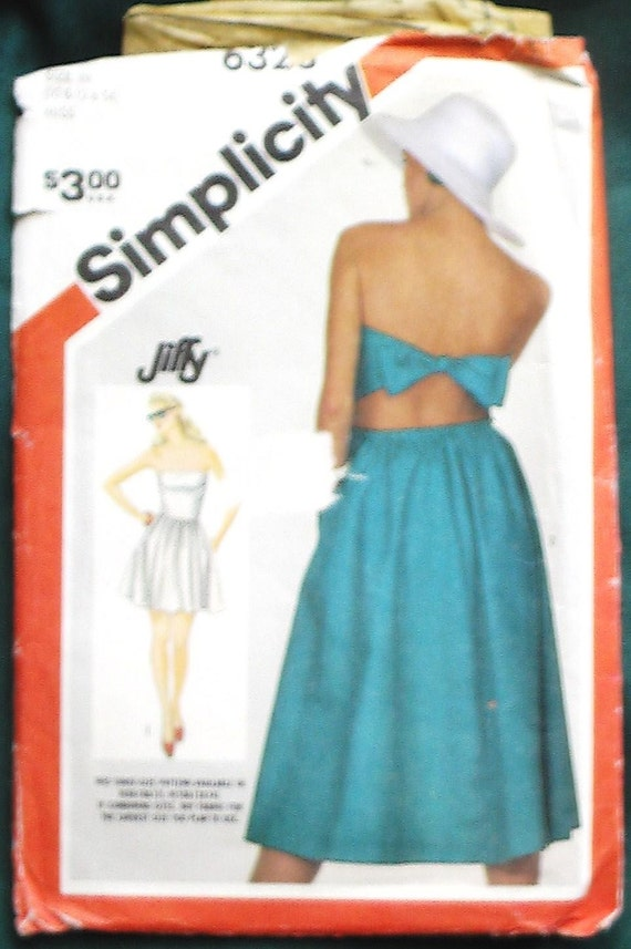 vintage Simplicity 6323 strapless summer dress beach vacation getaway women miss size 10 12 14 UNCUT