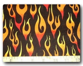 Orange Flames on Black - Fabric By The Yard