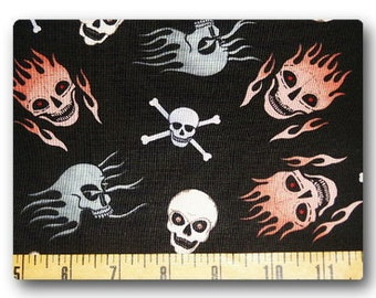 Flaming Skulls - Fabric By The Half Yard 18 inches x 44 inches