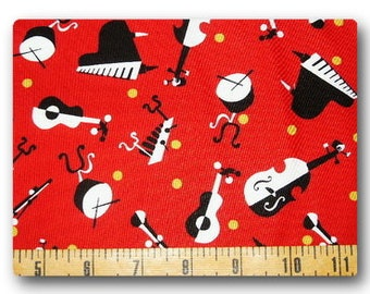 Music Instruments on Red - Fabric By The Yard