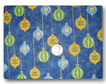 Christmas Ornaments on Blue - Fabric By The Half Yard 18 inches x 44 inches