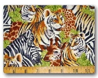 Zebra Giraffe and Tiger - Fabric By The Yard
