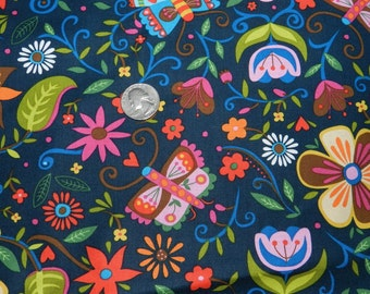 Soul Garden on Navy by P and B textiles - Fabric By The Yard - H