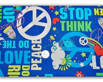 STOP Think Peace Love - Fabric By The Yard