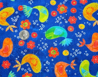 LAST YARD Bentley Chicks and Blooms on Navy Blue by Timeless Treasures - Fabric By The Yard - H