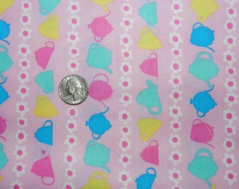 Tea Cup Stripes on Pink - Fabric By The Half Yard  - H