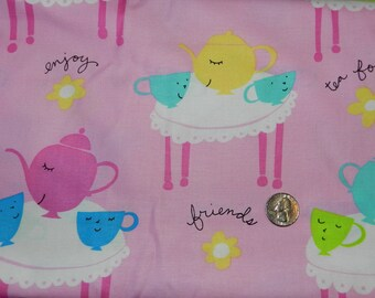 Tea Cups on Tables - Fabric By The Yard  - H