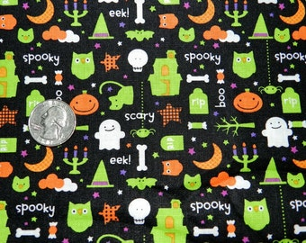 Trick and Treat Scary Eeeeek - Fabric By The Half Yard 18 inches x 42 inches - H