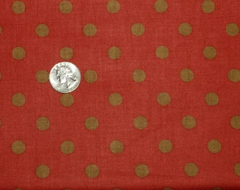 Olive Polka Dots on Cranberry Red - Fabric By The Half Yard 18 inches x 44 inches