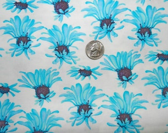 Madison Turquoise Daisy - Fabric By The Half Yard 18 inches x 44 inches