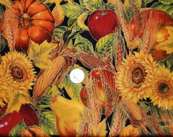 Harvest Shades of the Season with Gold - Fabric By The Half Yard 18 inches x 44 inches