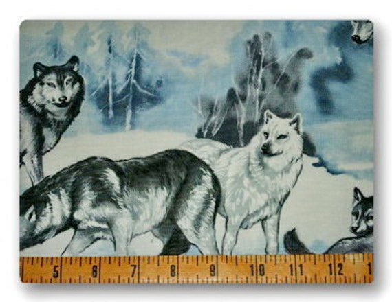 Wolves in Snow - Fabric By The Yard