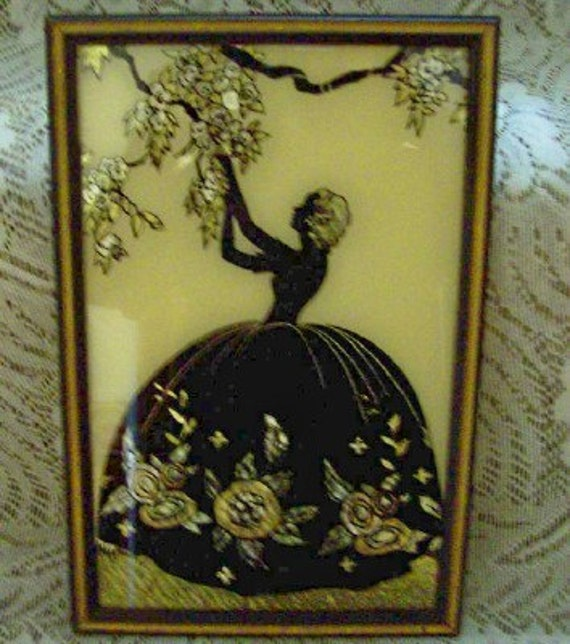 1933 Framed Smith Frederick Reverse Paint Silhouette Glass Painting with Butterfly Wing Effect  -   Blossom Time