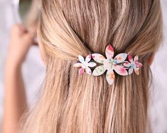 Barrette, Girl Barrette, White Barrette, Flower Barrette, Girl Hair Accessory, Girls, Girl Flower Barrette, Butterfly Print, Hair Accessory