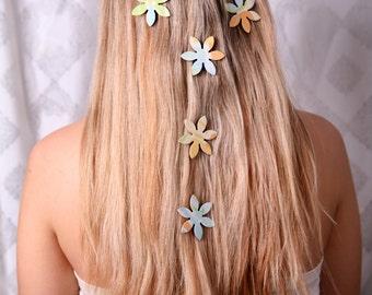 Unique hair accessory, Pastel colors hair magnets, Magnet hair flower, Hair clips, Girl hair accessory, Women hair accessory, Flower clips