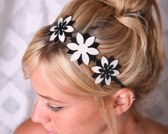 Black white headband, Women hair accessory, Elegant headband, Women headband, Flower headband, Women flower Headband, Metal headband, Women