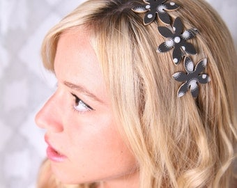 Elegant headband, Black headband, Women hair accessory, Women headband, Metal headband, Flower headband, Elegant accessory, Womens accessory