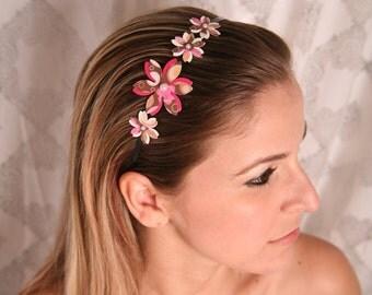 Summer headband, Women hair accessory, Girls headband, Pink headband, Flower headband, Girl hair accessory, Womens headband,Summer accessory