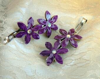 Purple hair clips, Women hair accessory, Girls hair accessory, Flower hair clips, Purple clips, Purple flower clip, Women clip, Girl clip