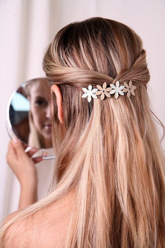 Barrette, Girl barrette, Hair clip, Women barrette, Flower barrette, Women hair accessory, Hair accessory, Mint barrette, Womens hair clip
