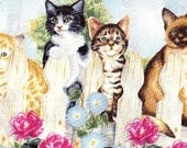 Morning Glory Roses Woodland Garden Fence Cat Fabric Realistic Kitties on Fences