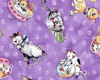 Lil Miss Cutie Patootie Cat Fabric by Red Rooster on Purple
