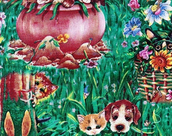 Its All About Laughter Cats and Dogs Retired Cat Fabric Out of Print on Green by Gary Paterson FQ