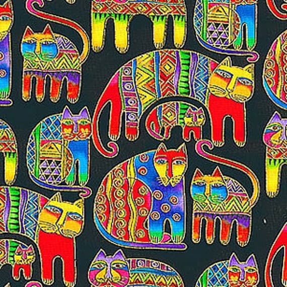 Laurel Burch Feline Cat Fabric on Black Retired Out of Print FQ